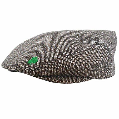 Irische Flachkappe mit Valentia-Island-Design und kleinem Kleeblatt-Aufdruck braun
