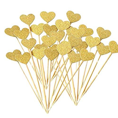 Ishua 50 Stück Herz Cupcake Topper Gold Glitter Herz Cupcake Topper Goldene Hochzeit Braut Baby Dusche Kuchen Dekoration