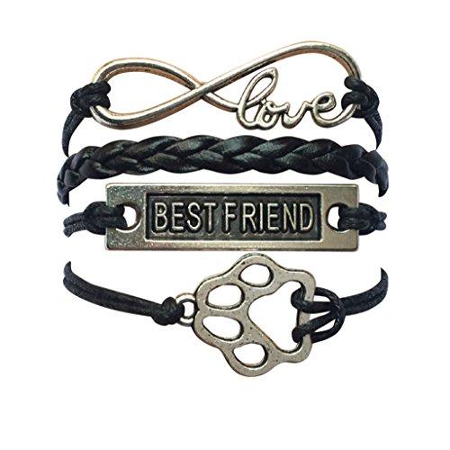 STRASS & PAILLETTES Armband Best Friend mit Pfote Hund/Katze und Love Unendlichkeit -