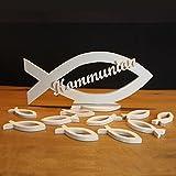Kommunion Tischdeko Set aus Holz | Holzfische | Handarbeit | großen Fisch und Serviettenringen | Deko für Tisch