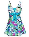 DUSISHIDAN Damen Einteiler Badeanzug Blumen Figurformender Rückenfreies Swimwear Badekleid Mit Röckchen