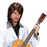 Perruque Chanteur Populaire Cheveux Benny Brunette Années 70 Disco Star Culte Soirée à Thème Rétro Accessoire Déguisement Homme