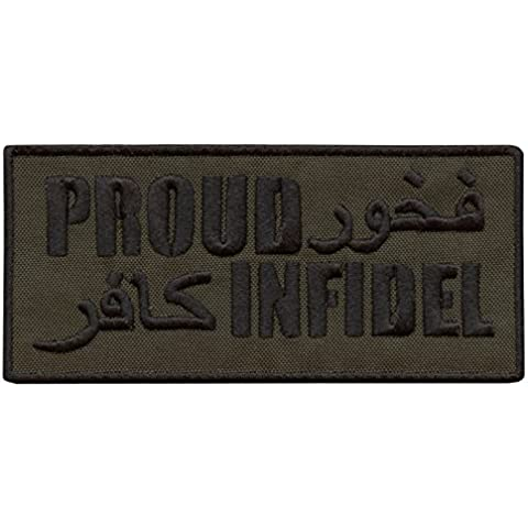 Olive Drab OD Proud Infidel ISAF Morale Shoulder Tab Embroidered Velcro Patch