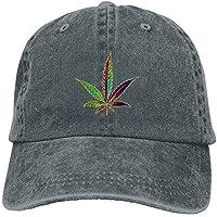 Miedhki IEHFE Hombres Mujeres Clásico Denim Cannabis Hoja Ajustable Gorra de béisbol Papá Sombrero Perfil bajo