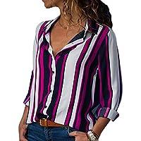 Yying Camisa De Manga Larga con Cuello En V para Mujeres Camisa De Rayas con Bloque De Color Blusas S-2XL