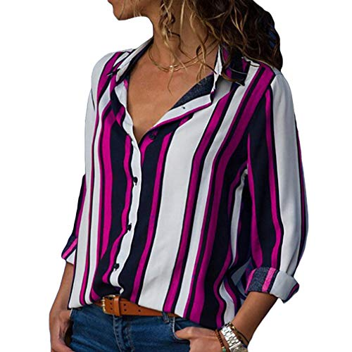 Yying Frauen Langarm V-Ausschnitt Shirt Knopfleiste Color Block Stripes Blusen Tops Rose S