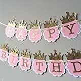 #2: Party Propz™ Princess Glitter Pink And Gold Happy Birthday Crown Banner / Happy Birthday Banner for Girls / Birthday Banner / Happy Birthday Decoration