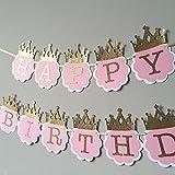 Party Propz Princess Glitter Happy Birthday Crown Banner for Girls Birthday Decoration