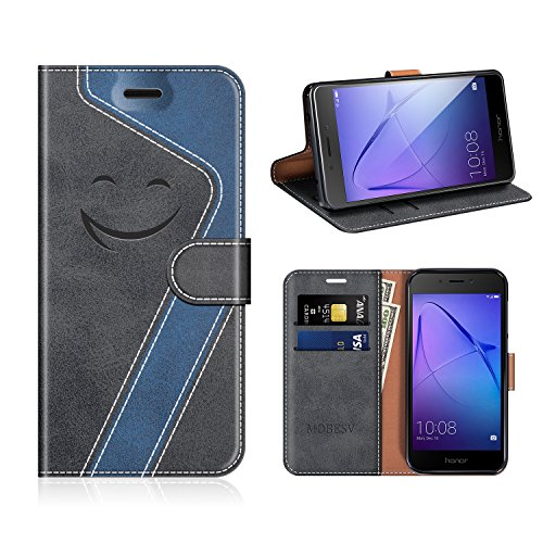 MOBESV Smiley Honor 6A Hülle Leder, Honor 6A Tasche Lederhülle/Wallet Case/Ledertasche Handyhülle/Schutzhülle für Honor 6A, Schwarz/Dunkel Blau