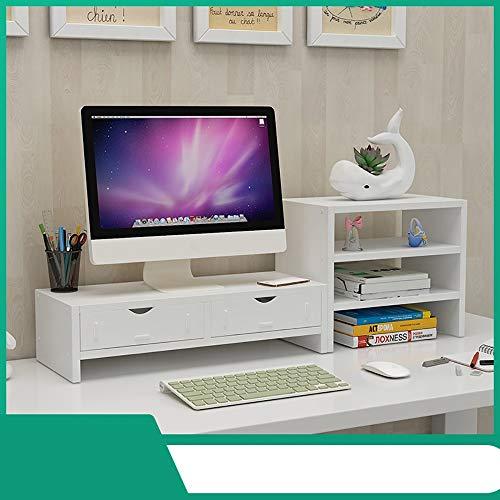 Desktop-Monitorständer Riser Mit Aufbewahrungsorganisator, Home-TV-Computerbildschirm-Vergrößerungsregal Mit Schubladen, Desktop-Aufbewahrungsregal (Color : White, Size : 2 Drawers) -