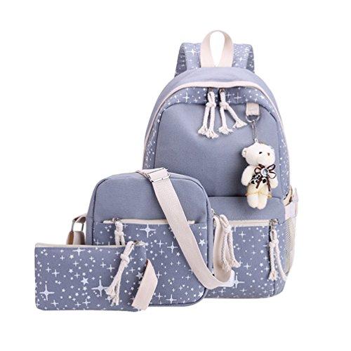 Xinwcang 3 Teile Set Causal Rucksack Canvas Daypacks Backpack,Schule/Schulranzen + Schultertasche/Messenger Bag + Handtasche für Jungen Mädchen/Damen Grau