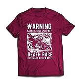 Männer T-Shirt Todesrennen - ultimative Killerfahrt, Motorradrennen, Klassiker, Vintage, Retro-Schädel-Biker, Motorrad (XX-Large Burgund Mehrfarben)