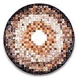 Livorio Designer Patchwork Kuhfell-Teppich - 120cm rund - braun beige Creme New Galaxy