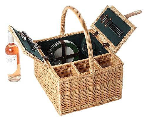 Greenfield Collection Amersham - Cesta de picnic en mimbre, para 4 personas, color marrón