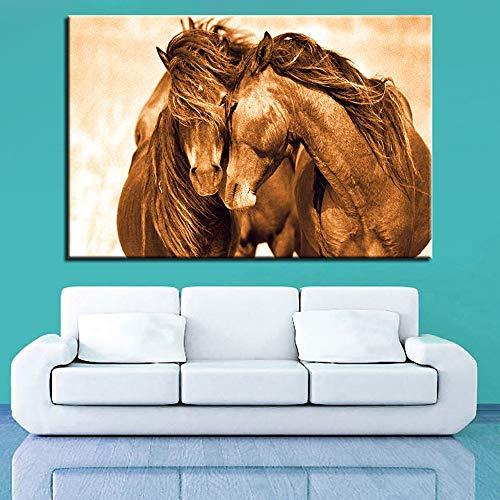 YANGMAN-ART Zwei Paar Pferd Wandkunst von Animal Prints auf Leinwand Bilder Wand Artwork HD-Drucke für Zuhause mit gerahmten gestreckten Ready to Hang,16x24inchx1pcs