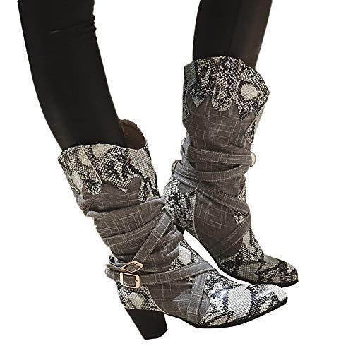 Geili Stiefel Damen Langschaft Schlangenhaut Muster Lederstiefel High Boots mit Blockabsatz Frauen Modische Übergrößen Lange Boots Hoher Absatz Schlüpfen Warm Winter Spitze Stiefel