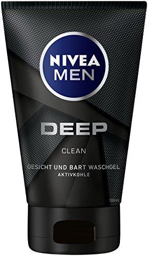 NIVEA MEN DEEP Gesicht und Bart Waschgel mit Aktivkohle im 4er Pack (4 x 100ml), Reinigungsgel befreit von Rückständen, feuchtigkeitsspendende Gesichtsreinigung