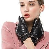 Nappaglo Damen Winter Leder Handschuhe Lammfell Touchscreen Warm Handschuhe mit Dekorativen Handgelenk Gürtel (XL (Umfang der Handfläche:20.3-21.6cm), Schwarz mit Braunen Gürtel(Touchscreen))