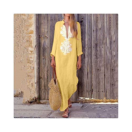 MOOPYS& Womens' Dress 2019 Printed Linen Long Sleeve sexy V-Neck Maxi Dress Split Hem Baggy Kaftan Casual Ladies Dress Clothing YE L