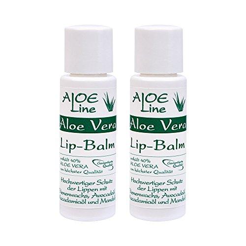 Aloe Vera Lippen Balsam   hilft bei spröden & trockenen Lippen nachhaltig   enthält 40% Aloe Vera, Bienenwachs, Avocadoöl, Macadamiaöl, Mandelöl & Panthenol   ohne Parabene   Made in Germany   2x10ml - Pflege-ein Lippenbalsam