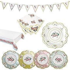 Idea Regalo - Luck and Luck Talking Tables Truly Chintz Vintage Floral Party Bundle per Una Festa da tè in Giardino, Addio al Nubilato e PIC-nic, tovaglia di Carta, Piatti di Carta, tovaglioli e bandierine