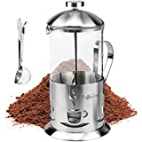 French Press Coffee & Tea Maker With Clip-On Measuring Spoon. Lab Quality Carafe & Stainless Steel. Premium Quality Parts & Craftsmanship! Pays For Itself With The Best Brew! (34oz/1000ml, Matte)