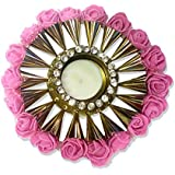 Exquisite Hand Crafted Festive Decor Crystal Floating Diya (tealight Candle Holder) With Beautiful Pink Roses