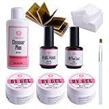 Coscelia 3x UV Gel+Top Coat+Primer Starterset Nagel Kunst UV Gelnägel Nageldesign Set UV Gel Set