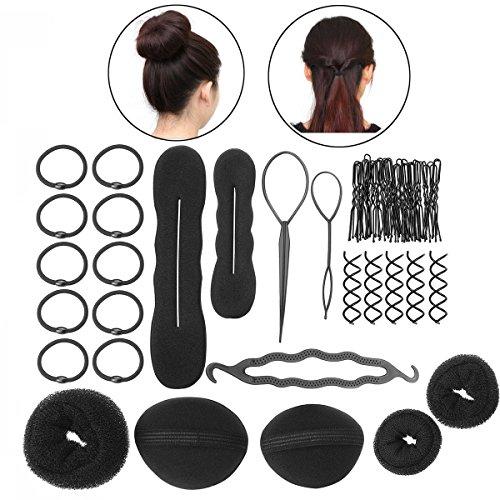 Da.Wa Fabricante de Pelo Herramienta de Peluquería de Moda Donut Hair Bun Maker,Juego de 8