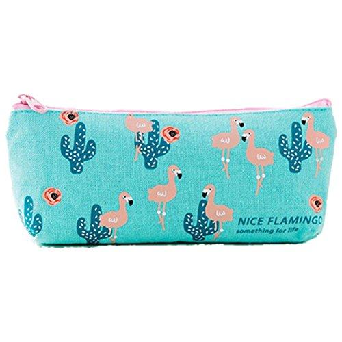(Cosanter Schöner Flamingo Federmäppchen Bleistifte Tasche Leinwand Stift Aufbewahrungstasche mit Reißverschluss)