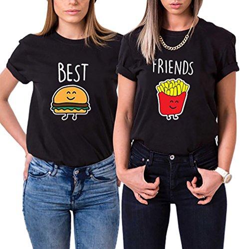 Beste Freunde T-Shirt Best Friends Modal Shirt für Zwei Mädchen Set Damen Hamburger Pommes Frites Passende Kurzarm Tops mit Aufdruck 2 Stücke (Schwarz, Best-S+Friends-M)