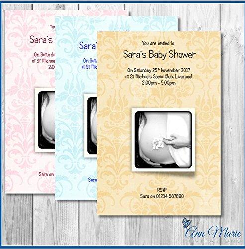 e Baby Dusche Einladungen Karten Junge Mädchen Baby Dusche blau pink gelb Laden Karte (BS2-10) ()