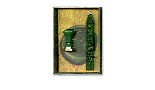 JapanAttitude Set sigillo timbro tripla spirale celtico protezione con cera verde 12/x 8,5/cm