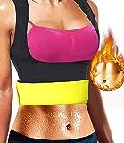 NOVECASA Sauna Gilet Longue Chemise Femme/Pantalon Court Shorts en Néoprène Fitness Corset pour Transpiration, Fat Burning, Abdomen Minceur Alléger Body Shaper (L, Gilet)