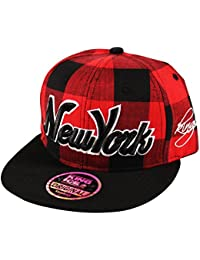 4c12dbe59ca Itzu Snapback Baseball Cap New York NY Lumberjack Check Hat Adult in Red  Black Purple Blue