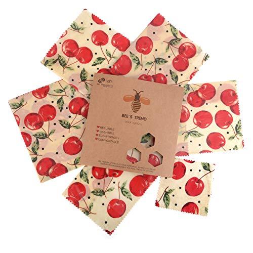 Bee's Trend 6er Set Wachstücher für Lebensmittel | Plastikfreie Produkte für Ihren Zero Waste Lifestyle | Beeswax Wrap, Wraps aus Bienenwachs Bio, Waschbare Schüsselbezüge