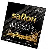 Premium Gitarrensaiten Set für Akustikgitarren, Konzertgitarren und klassische Gitarren von saflori - Besonders robuste Nylonsaiten mit brillantem Klang - silber umwoben - 6 Saiten Set