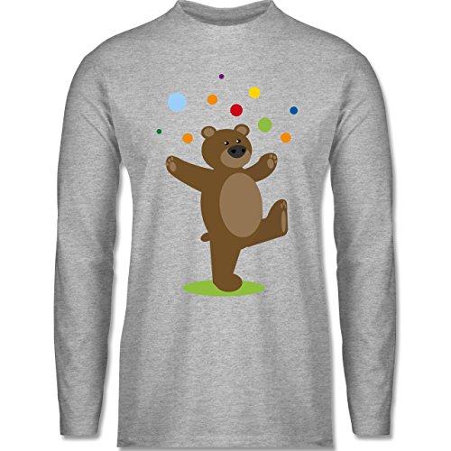 Sonstige Tiere - Kinder-Motiv Bär - Longsleeve / langärmeliges T-Shirt für Herren Grau Meliert