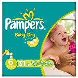 Pampers Baby Dry Größe 6 (16 + kg) Essential Pack Extra Large 3x31 pro Packung