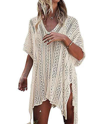 ShinyStar Damen Strandponcho Gestrickte Bikini Badeanzug Cover Up aus Spitze Crochet Strandkleid mit Quasten Oversize Beige Einheitsgröße