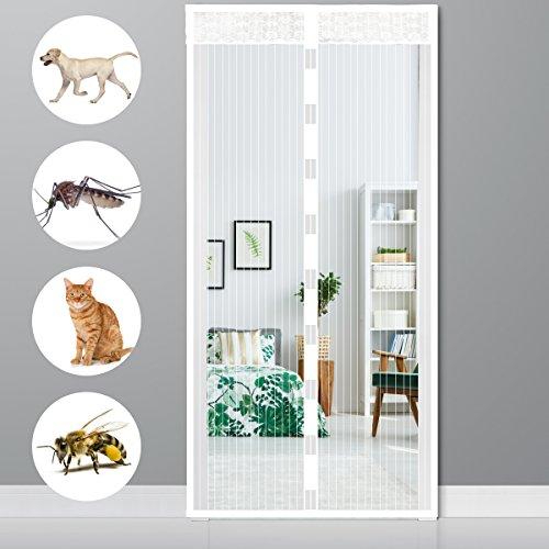Ailiebhaus Magnet Fliegengitter Tür Insektenschutz, Magnetischer Fliegenvorhang Moskitonetz Automatisches Schließen für Balkontür Wohnzimmer Terrassentür Klebmontage ohne Bohren 90x210 cm Weiß