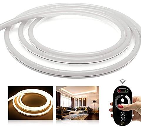 LEDU NeonFlex Premium warmweiß LED Set mit Funkcontroller, Fernbedienung und 3A NT (Länge: 2m, 24V LED-Streifen, LED-Stripe ohne Lichtpunkte, durchgängig leuchtend, 9W/m, EEK: A, Anschluss: 2 Pol
