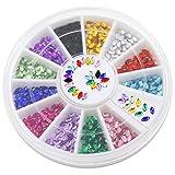 Bluelans® 12 Farben 3mm 3D Glitters Oval Strass Nagelsticker Schleife