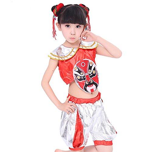 Byjia Kinder Tanzen Kostüme Klassisch Sequins Jazz Lose Jugendlich Jungen Mädchen Tragen Kinder Stufe Aufführungen Komfort Studenten Chor Gruppe Mannschaft Peking Oper Drama Bedienung Setzt Red 120Cm (Hip Hop Tanz Kostüm Für Jugendliche)