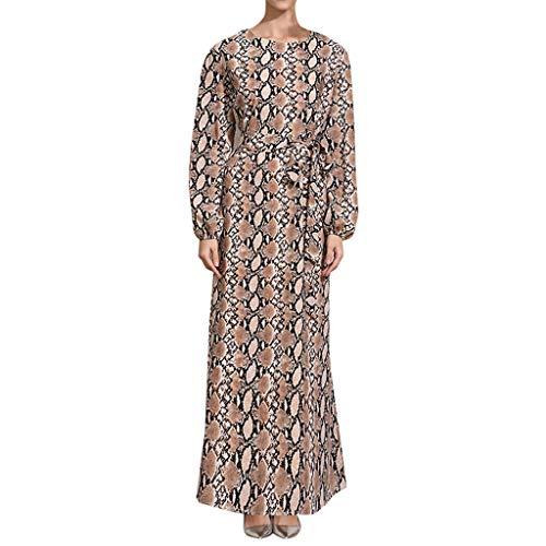 Hokoaidel Muslimische Islamisch Maxikleid Schlange drucken Party Abendkleid Vintage Loose Langarm Hohe Taille Ballkleid Dubai Hijab Lang Kleider mit ()