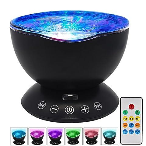 Océan Wave Projector Lampe de nuit avec lecteur de musique intégré et télécommande 7 Modes lumineux colorés pour enfants Adultes Chambre à coucher Chambre Salon Voyage en campagne (Noir)