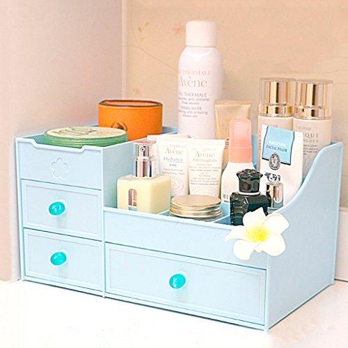 Type de tiroir boîte de rangement cosmétique grand Creative Skin Care boîte de rangement de bureau en plastique rouge à lèvres étagère ( Color : Blue )