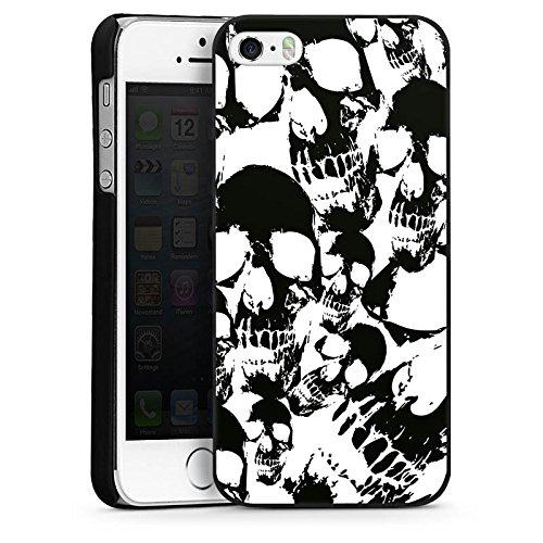 Apple iPhone SE Housse Outdoor Étui militaire Coque Crâne Noir et blanc Gothique CasDur noir