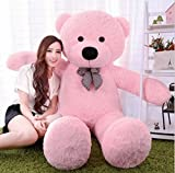 Toyhub Huggable Teddy Bear With Neck Bow (122 Cm Pink) - 4 Feet
