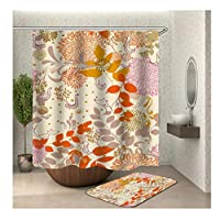 Aooaz Shower Curtain Polyester Waterproof Flower Fox And Bird Shower Curtain (59X70 Inch) & Bath Mat (15X23 Inch)